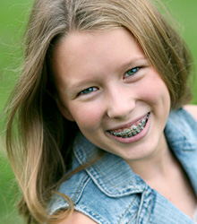 stock photo of a girl wearing braces
